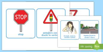 Schede Sicurezza sulla Strada Attività - sicurezza, sulla, strada, mezzi, di trasporto, italiano, italian, materiale, scolastico, segnali, st