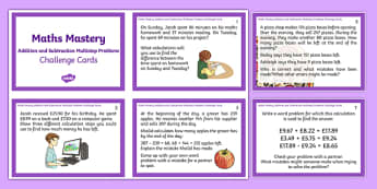 Year 5 Addition and Subtraction Multistep Problems Maths Mastery Challenge Cards - year 5, addition and subtraction, multistep problems, maths mastery, challenge cards, maths, mastery, y5, challenge, cards, problems, addition, subtraction