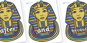 Connectives on Tutankhamun - Connectives, VCOP, connective resources, connectives display words, connective displays