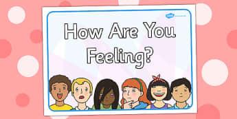 Pancartes et étiquettes : Comment tu te sens aujourd'hui ? - Anglais LV