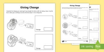 Giving Change KS1 Activity Sheets  - Money, Maths, Numeracy, Coins, Key Stage One, KS1, Year 1, Year 2, Key Stage 1, Change, Giving Chang