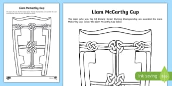 Liam McCarthy Cup Colouring Activity Sheet-Irish, worksheet