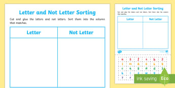 Letter and Not Letter Sorting Activity Sheet - EYLF, Literacy, reading, concepts of print, word, letter, sentence, sorting,Australia, Worksheet