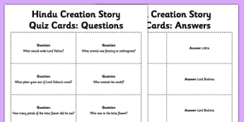 Hindu Creation Story Quiz Cards