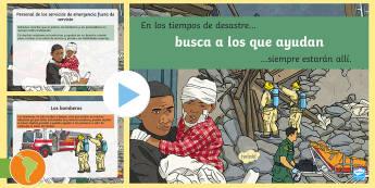 Presentación: Busca a los que ayudan - desastre natural, huracan, huracán Irma, inundación, terremoto, , tsumani, incendio, español