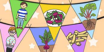 Oliver's Vegetables Bunting - Oliver's vegetables, bunting, display