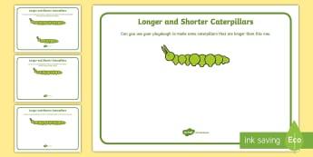 Longer and Shorter Caterpillars Playdough Mats - Longer And Shorter Worms Playdough Mats - longer and shorter, worms, playdough mat, mat, playdough,