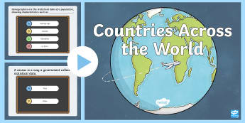 Countries Across the World PowerPoint Pop Quiza - ACHASSK139, Year 6, AC, Geography, formative assessment, prior knowledge,Australia