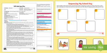 Sequencing My Day Adult Input Plan and Resource Pack - EYFS, Early Years Planning, Adult Led, Orders and Sequences Familiar Events, maths, mathematics, 40-