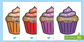 Months of the Year on Cupcakes English/Portuguese - Months of the Year on Cupcakes - Months of the Year, Months poster, Months display, display, poster,