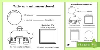 Tutto su la mia nuova classe Attività - esercizio, attivita, scrivere, scrittura, materiale, scolastico, italian, italiano, nuovo, anno, cla