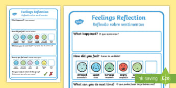 Feelings Reflection Writing Frame English/Portuguese  - Feelings, Reflection, Think, Emotions, Feel, eal