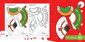 Simple 3D Cone Elf Bobble Head Christmas Activity Paper Craft English/Hindi - elf, christmas, craft, design, making, art, creative, activity, festive, toy, model, EAL