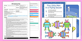5 Little Men in a Flying Saucer Parachute Activity EYFS Adult Input Plan and Resource Pack - EYFS planning, early years activities, number, counting, changes in quantity, adult led