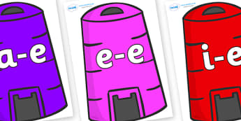 Modifying E Letters on Recycling Bins - Modifying E, letters, modify, Phase 5, Phase five, alternative spellings for phonemes, DfES letters and Sounds