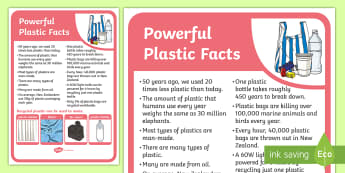 Powerful Plastic Facts Display Poster - tidy kiwi, New Zealand, rubbish, recycling, Years 1-6, plastic, display poster