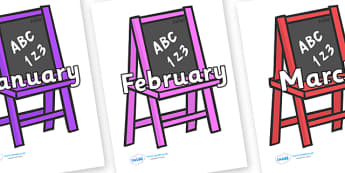 Months of the Year on Chalk Boards - Months of the Year, Months poster, Months display, display, poster, frieze, Months, month, January, February, March, April, May, June, July, August, September