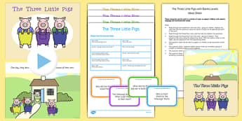The Three Little Pigs with Blanks Level Questions - receptive language, expressive language, verbal reasoning, language delay, language disorder, comprehension, autism, Language for Thinking