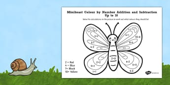 Minibeast Colour by Number Addition and Subtraction Up to 10
