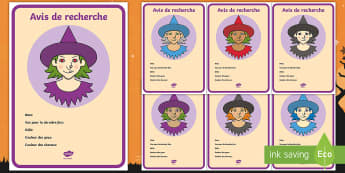 Supports pour la production d'écrits : Affiche d'avis de recherche pour une sorcière - Sorcier, Sorcière, Magie, Halloween, production d'écrits, écriture, Cycle 1, Cycle 2