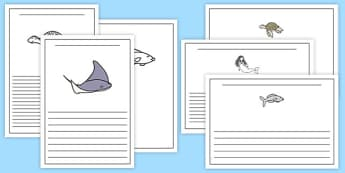 The Little Fish Writing Frames - tiddler, early years, eyfs, nursery, reception, fish, under the sea, ocean, writing, frame, sheet, worksheet