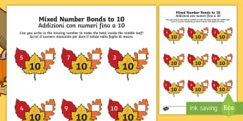 Autumn Leaf Mixed Number Bonds to 10 Activity Sheet Italian/English  - autumn, leaves, number bonds, addition pairs, adding to 10, numeracy, maths, year 1, y1,, worksheet,