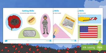 Memorial Day Cutting Skills Activity Sheet - Memorial Day, cutting skills, Pre-K cutting skills, patriotic, scissor skills, fine motor practice.