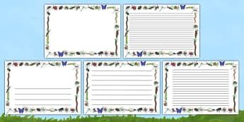 Minibeasts Full Page Borders (Landscape) - page border, border, frame, writing frame, writing template, minibeasts, insects, minibeasts writing frames, minibeasts page borders, writing aid, writing, A4 page, page edge, writing activities, lined page,