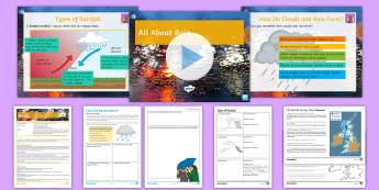 All about Rain Lesson Pack - Precipitation, rainfall, frontal rain, relief rain, Convectional rain, Condensation, Air masses, Clo