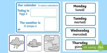 Weather Calendar Weather Chart English/Italian - Weather calendar, weather chart, weather, calendar, months, days, weather display, date display, rai