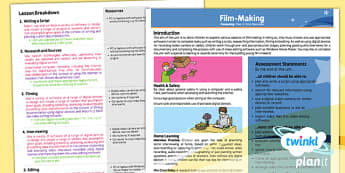 PlanIt - Computing Year 6 - Film-Making Planning Overview - movies, documentary, filming, video, camera, movie maker, digital devices