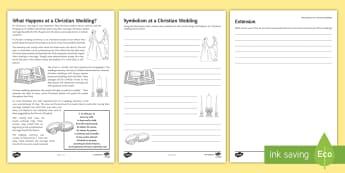 Christian Weddings Activity Sheet - Weddings, Marriage, Christianity, worksheet, information