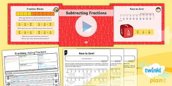 PlanIt Y3 Fractions Lesson Pack Add and Subtract Fractions (2) - Fractions, subtract fractions, subtracting fractions, take away fractions