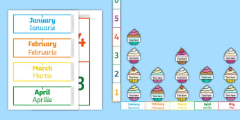 Pictogram Class Birthdays Display Pack English/Romanian - birthday, pictogram, data, analysis, graph, graphs interpreting data, EAL,Australia-translation