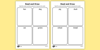 The Little Red Hen Read and Draw Worksheet - red hen, draw, read