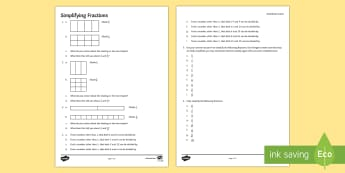 Simplifying Fractions Activity Sheet - simplifying, fractions, equivalent, shade, denominator, numerator, convert, worksheet, common factor
