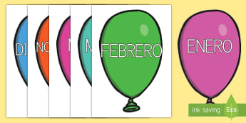 Palabras temáticas en imágenes: Los meses del año en globos - mes, meses, meses del año, año, enero, febrero, marzo, abril, mayo, junio, julio, agosto, septiemb