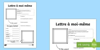 Lettre à moi-même Feuille d'activités  - Expression écrite, mes goûts, se présenter, transition, mes attentes,French