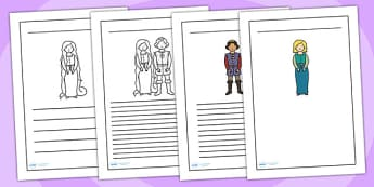 Rapunzel Writing Frames - writing frame, frame, writing, writing aid, rapunzel, repunzel, rapunzel frame, rapunzel page, writing template, template, literacy