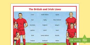 The British and Irish Lions Word Mat - NI, The Lions Tour, Rugby, British, Irish, New Zealand, Australia, South Africa, squad, team, captai