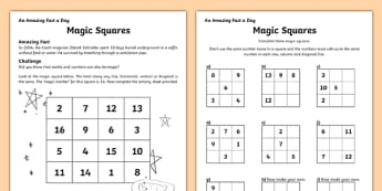 Magic Squares Activity Sheet, worksheet