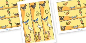 Handa's Hen Display Border - Handa's Hen, Eileen Browne, Africa, African culture, African animals, counting, Mondi, sunbirds, bullfrogs, spoonbills, story, story book, story book resources, story sequencing, story resources, Display border, classroom