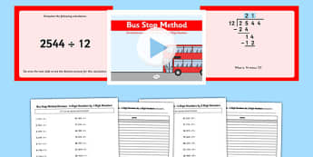 Formal Division of 4 Digit Numbers Bus Stop Method Pack - formal division, 4 digit, numbers, bus stop, method, pack