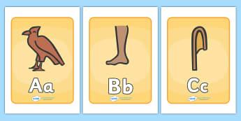 Ancient Egyptian Hieroglyphs Display Posters - Ancient Egyptian, hierogliphics, hieroglyphs, history, posters, sign, banner, display, Egyptians, Egypt, pyramids, Pharaoh, hierogliphics, hieroglyphs, Tutankhamun, Giza, Dahshur, Mummy
