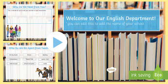 English Department Open Evening Editable PowerPoint - English department, open evening, parents evening, English presentation, English assembly