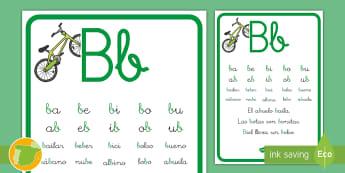 Cartilla de lectura: La B Hoja informativa - lecto, leer, lectura, sonidos, letra , lecto-escritura, fonemas, sonidos, consonantes, letra b, fone