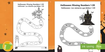 Halloween Spooky House Missing Numbers to 20 Activity Sheet English/Spanish - Halloween, october, festival, celebration, worksheet, activity sheet, EAL, counting, numbers