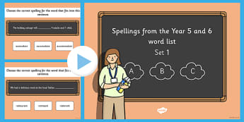 Spelling from the Year 5 and 6 Wordlist Set 1 - KS2, UKS2, spellings