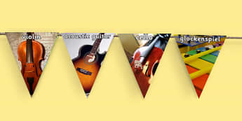Musical Instruments Photo Display Bunting - musical instrument photos, music bunting, music photo bunting, music display bunting, musical instruments