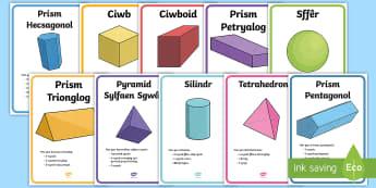 Posteri Arddangos Priodweddau Siapiau 3D - wall mathemateg, Siâp 2D, defnyddio sgiliau geometreg, Siâp, siap, Siap, enwau siapiau 2D, cylch, Cylch, Sgwar, sgw